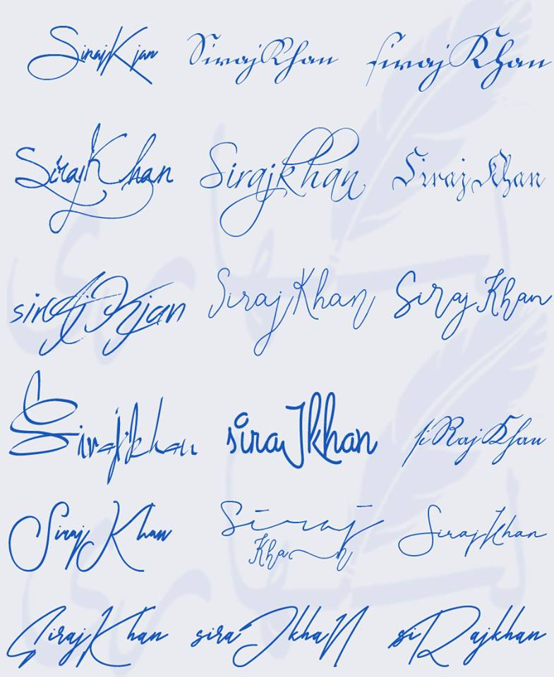 Signatures for Siraj Khan