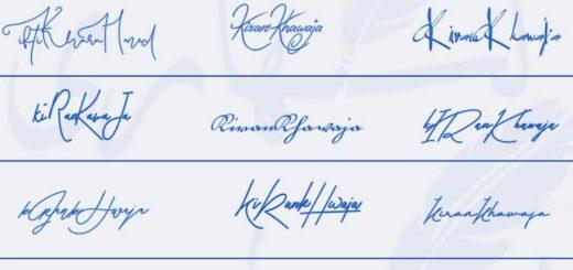 Signatures for Kiran Khawaja