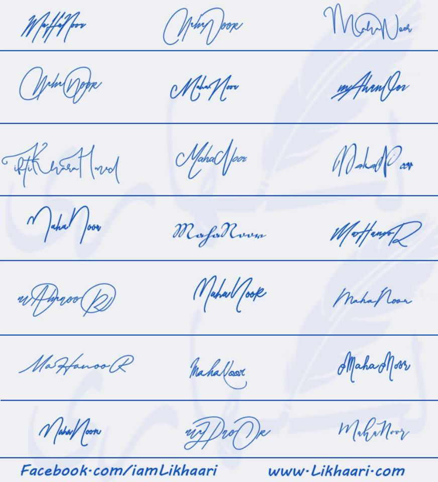 Signatures for Maha Noor