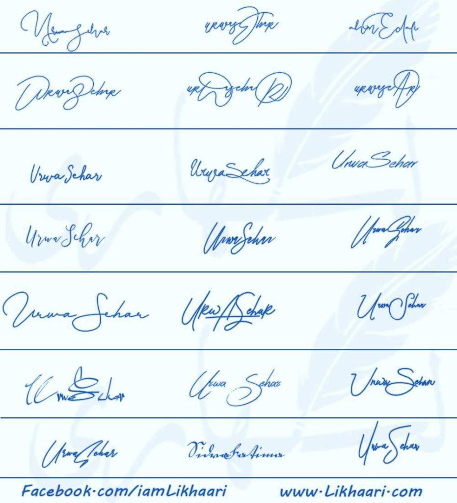 Signatures for Urwa Sehar
