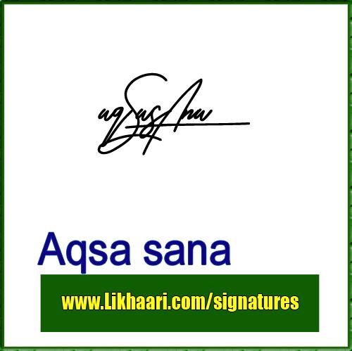Aqsa Sana Handwritten signature