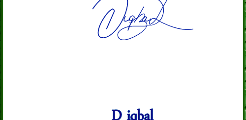D iqbal handwritten signature