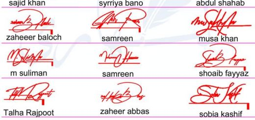 Handwritten Different Name Signature Collection 2019