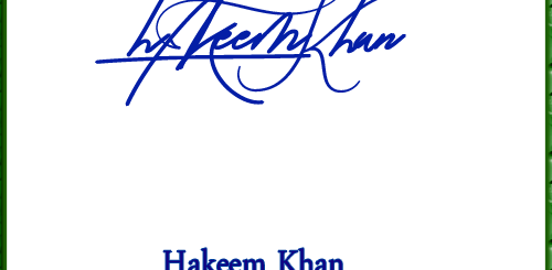 Hakeem Khan handwritten signature copy
