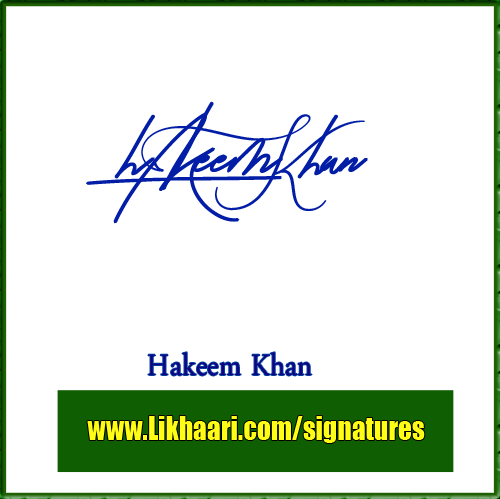 Hakeem Khan handwritten signature copy
