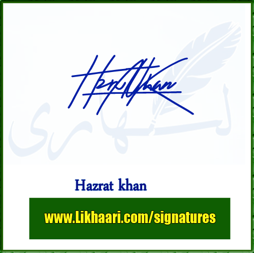 Hazrat khan handwritten signature