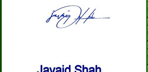 Javaid Shah handwritten signature