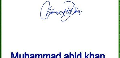 Muhammad abid khan handwritten signature