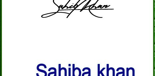 Sahiba khan handwritten signature