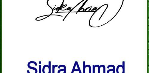 Sidra Ahmad handwritten signature