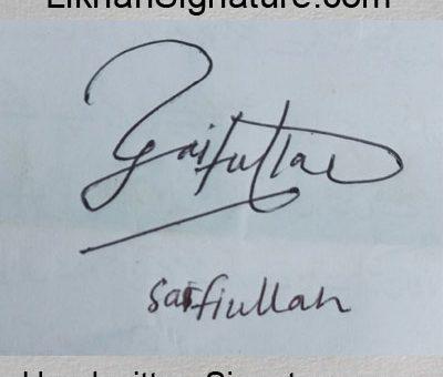 safi-ullah Handwritten Signature