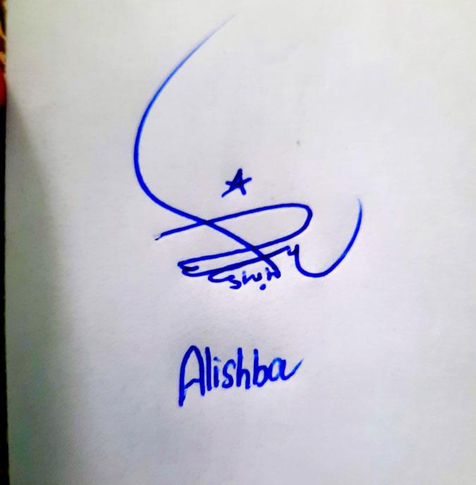 Alishba Name Online Signature Styles