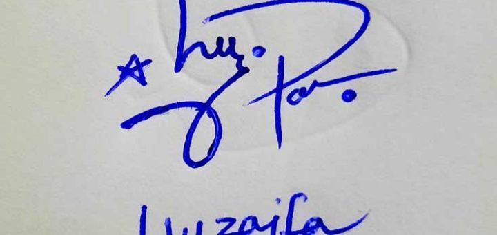 Huzaifa Name Signature