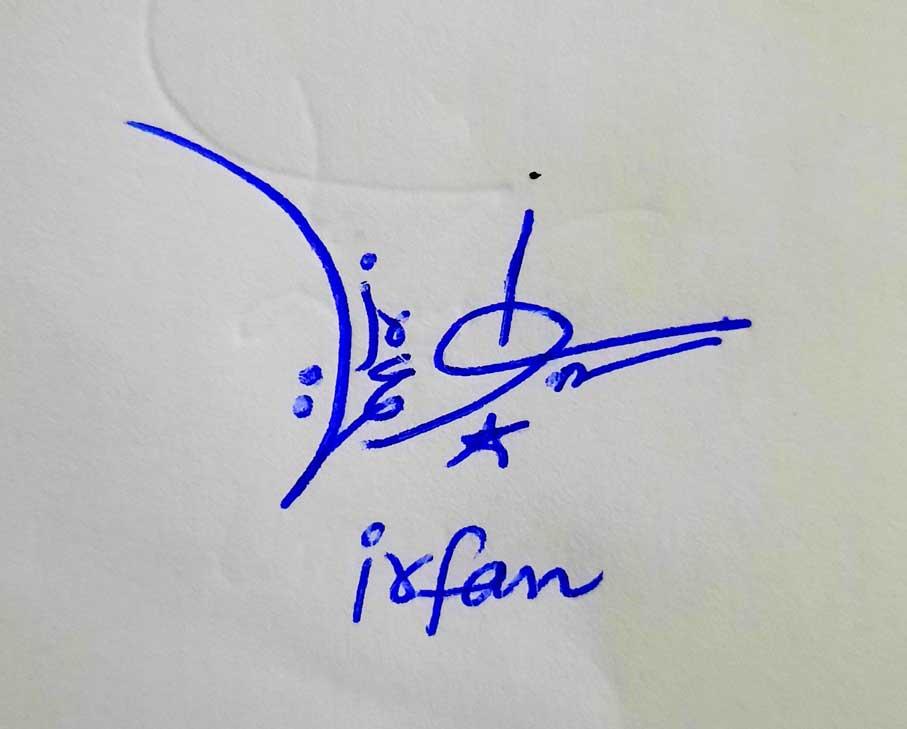 Irfan Name Signature Style