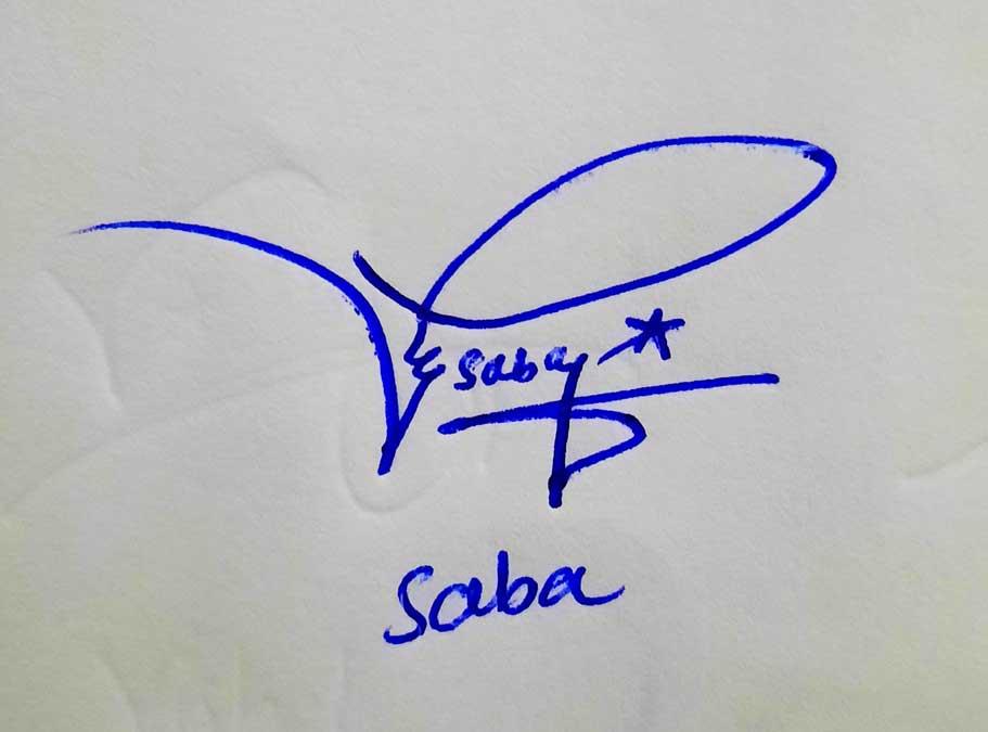 Saba Name Signature Style