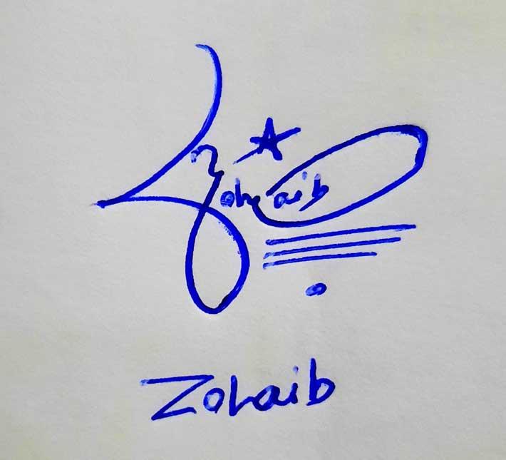 Zohaib Name Signature Style