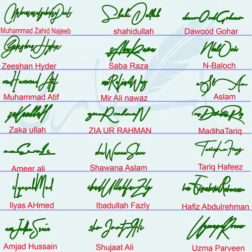Handwritten Name Signatures Collection New Design